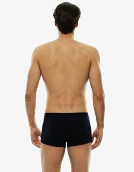 Short boxer blu notte stampato in cotone elasticizzato-LOVABLE
