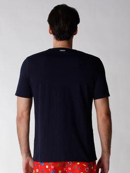 T-shirt uomo in tessuto fiammato tinto filo, blu notte, , LOVABLE