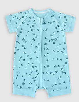 Pagliaccetto con zip in cotone elasticizzato, colore azzurro con stelline blu, , LOVABLE