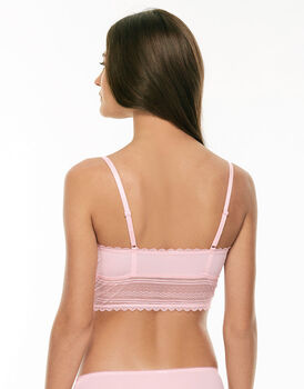 Bralette senza imbottitura rosa pizzo elastico e tulle-LOVABLE