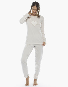 Pigiama manica e gamba lunga, latte, in jersey di cotone fil-à-fil , , LOVABLE