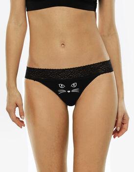 Brasiliano nero in cotone elasticizzato-LOVABLE