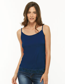 Top Basic Soul bluette in modal con pizzo sul fondo, , LOVABLE