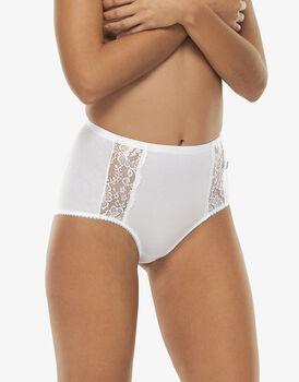 Slip maxi lovely charme, bianco in cotone elasticizzato con pizzo, , LOVABLE
