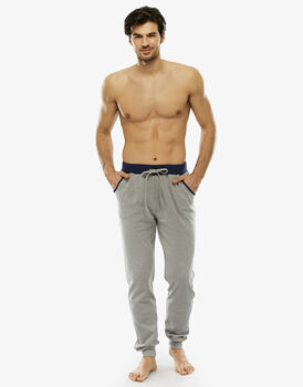 Pantalone lungo grigio melange in interlock con coulisse in vita-LOVABLE