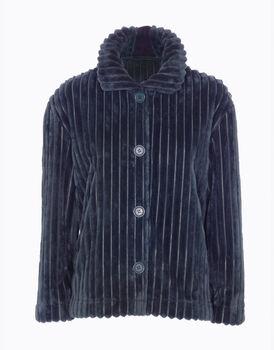 Maglia aperta homewear donna in pelliccetta, blu, , LOVABLE