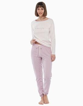 Pigiama in jersey di cotone, pois rosa, , LOVABLE