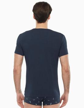 T-shirt blu sail in cotone stretch, , LOVABLE