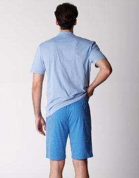Pigiama uomo manica e gamba corte, 100% cotone, azzurro, , LOVABLE