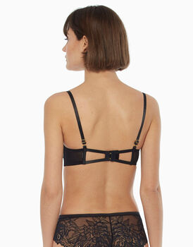 Reggiseno push up nero, con coppe in raso e sovracoppa in pizzo-LOVABLE