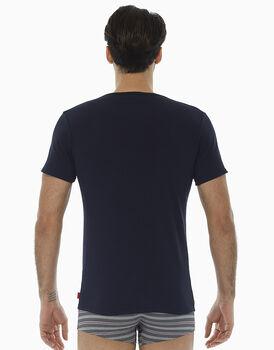 T-Shirt blu notte in cotone elasticizzato, , LOVABLE