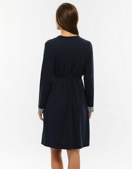 Vestaglia blu righe in cotone modal, con allacciatura con coulisse sottoseno-LOVABLE