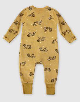 Tutina lunga per neonato con zip in ciniglia elasticizzata, gialla stampa tigre, , LOVABLE