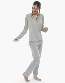 Pigiama manica e gamba lunga grigio, in jersey modal, scollo con motivo a goccia, , LOVABLE