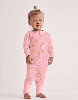 Tutina lunga per neonato con zip in cotone elasticizzato, rosa stampa arcobaleni, , LOVABLE