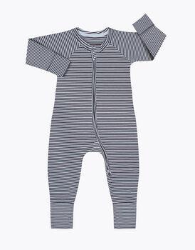 Tutina in cotone elasticizzato, tinto in filo grigio e bianco, , LOVABLE