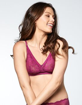 Reggiseno soft in pizzo Flower Lace, color ciliegia, , LOVABLE