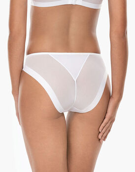 Slip midi sgambato Invisibile Ultralight bianco in microfibra e tulle-LOVABLE