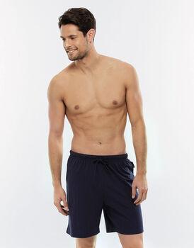 Pantalone corto blu navy in jersey con tasca sul retro-LOVABLE
