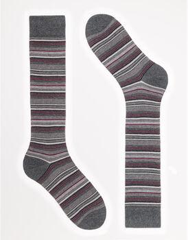 Calzini uomo lunghi, antracite a righe multicolore, , LOVABLE