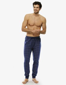 Pantalone lungo check blu brillante in jersey di cotone stampato con taschino sul retro-LOVABLE