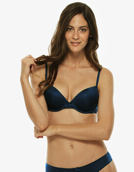Reggiseno push up basic micro blu, in microfibra-LOVABLE