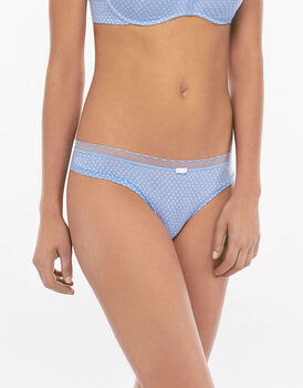 Brasiliano azzurro a pois My Daily Comfort Printed in microfibra-LOVABLE