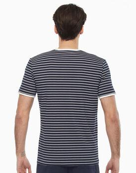 T-shirt girocollo in cotone, righe bianche e blu, , LOVABLE