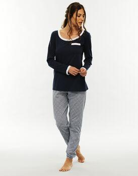 Pantalone manica e gamba lunga blu stampato, in jersey di cotone-LOVABLE