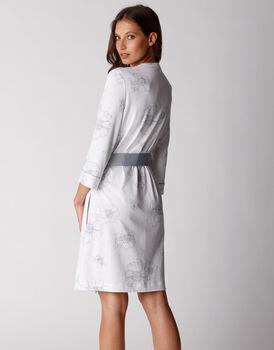 Vestaglia in cotone modal stampato, fiori su bianco, , LOVABLE