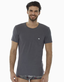 T-Shirt girocollo grigio medio in cotone elasticizzato , , LOVABLE