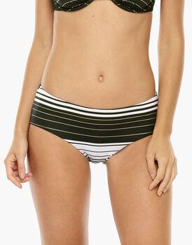 Bikini Slip alto a righe bianco e nero in microfibra-LOVABLE