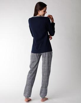 Pigiama donna lungo interlock 100% cotone, blu, , LOVABLE