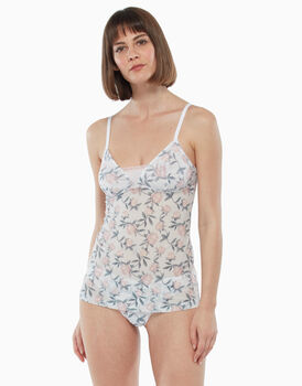 Top in tulle, stampa a fiori, , LOVABLE