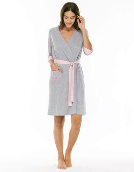 Vestaglia grigio melange in cotone e modal con bottone con asola per accorciare la manica-LOVABLE