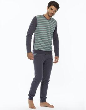 Pigiama manica e gamba lunga, righe verdi e grigio, in jersey-LOVABLE