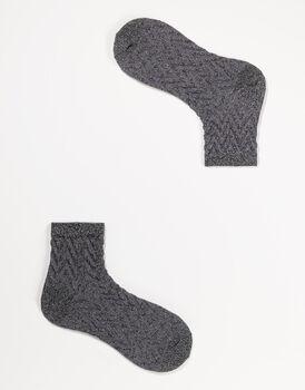 Calze corte da donna in cotone lurex, nere, , LOVABLE