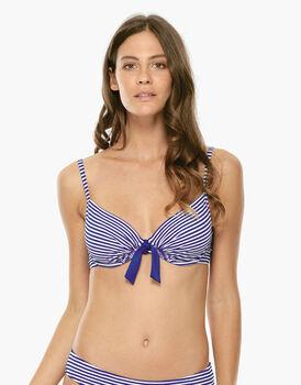 Bikini Reggiseno Ferretto Righe blu elettrico e bianco in tessuto tinto filo-LOVABLE