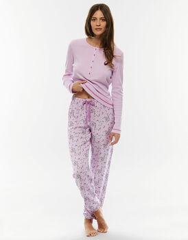Pigiama manica e gamba lunga, rosa lillato, in jersey di cotone-LOVABLE