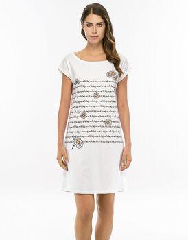 Camicia da notte manica corta bianco in jersey di cotone stampata-LOVABLE