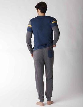 Pigiama uomo lungo in jersey, blu petrolio, , LOVABLE