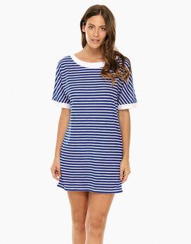 Maxi  T–shirt a righe Blu elettrico e Bianco in viscosa-LOVABLE