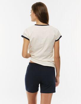 Pigiama manica e gamba corta avorio in jersey di cotone con maglia con scollo a V-LOVABLE