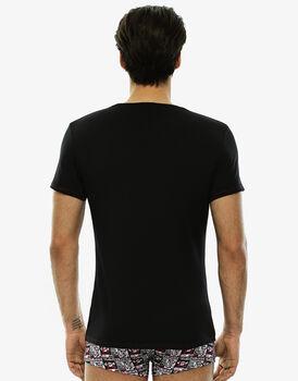 T-shirt manica corta nero in cotone elasticizzato, girocollo -LOVABLE