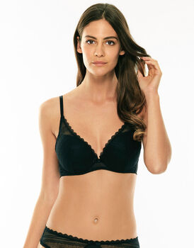 Reggiseno super push-up con ferretto nero in pizzo elastico-LOVABLE