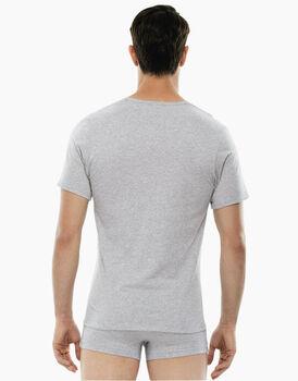 T-shirt 100% Pure Cotton grigio melange in cotone con scollo a V-LOVABLE