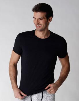 T-shirt manica corta in cotone elasticizzato fiammato, nero, , LOVABLE