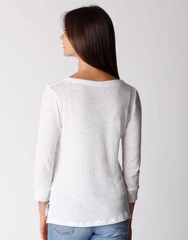 T-shirt manica 3/4 in cotone e lino, bianca, , LOVABLE
