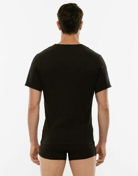 T-shirt 100% Pure Cotton nera in cotone con scollo a V-LOVABLE