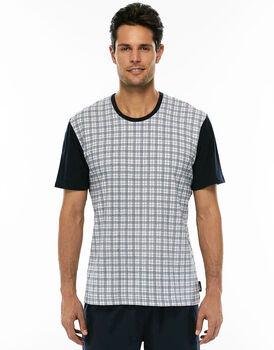 Maglia manica corta stampa tartan in jersey di cotone girocollo-LOVABLE